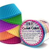 Confetti Colors Silicone Baking Cups :: Set of 12 Reusable Cupcake Liners :: Non-stick Cupcake Molds in 6 Festive Colors :: Replaces Paper Cupcake & Muffin Wrappers :: Perfect for Holidays, Birthday Parties, & Special Occasions :: 100% Food Grade Silicone