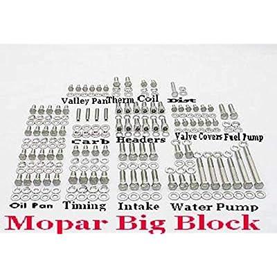 ALLOYBOLTZ - BIG BLOCK MOPAR BBM 383 400 413 426 WEDGE 440 STAINLESS ENGINE HEX BOLT KIT: Automotive