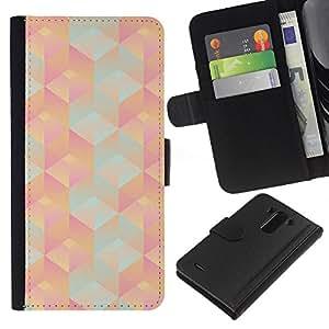 LG G3 / D855 / D850 / D851 Modelo colorido cuero carpeta tirón caso cubierta piel Holster Funda protección - 3D Polygon Pattern Peach Pink Teal
