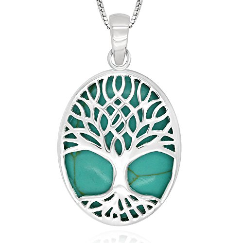 Sterling Turquoise Abalone Pendant Necklace