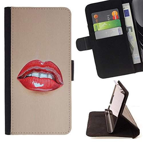 Planetar Colorful Pattern Flip Wallet Leather Holster Protective Skin Case Cover For LG X Mach / X Fast ( Red Lips Wet Kiss Lipstick Sexy Woman White (Mach Lip)