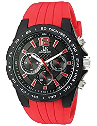 Joshua & Sons JX126RD Men's Quartz Metal and Silicone Automatic Watch, Red