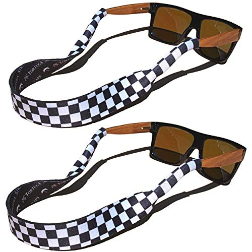 TORTUGA STRAPS FLOATZ Relaxed Fit Glasses Strap | 2 Pk Neoprene Floating Sunglass Straps (Classic Checkerboard)