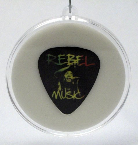 Bob Marley Rebel Music Guitar Pick With MADE IN USA Christmas Tree Ornament (Rebel Flag Guitar)