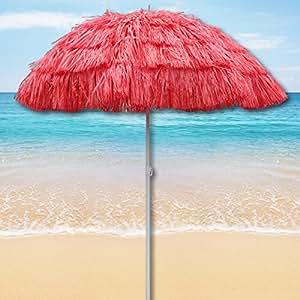 Rojo para exteriores de playa paraguas hawaianas para sombrilla inclinable backhander hawaiano de diseño cilíndrico