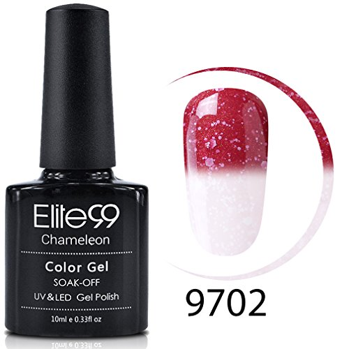 Elite99 Gel Nail Polish, Snowy Thermal Temperature Color Changing Nail Polish, UV LED Soak Off Chameleon Nail Art Gel Polish 10ML 9702