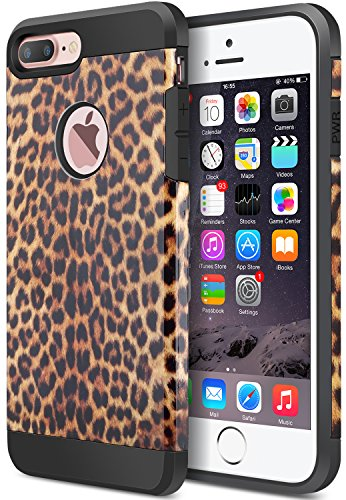 - iPhone 8 Plus Case, iPhone 7 Plus Case, Dual Layer Camouflage Leopard Shockproof Protective Case TPU Bumper Hard PC Back Case Cover Skin for Apple iPhone 7 Plus & iPhone 8 Plus (Leopard)