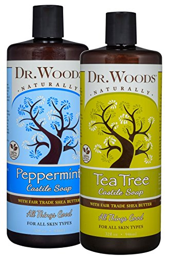 Dr. Woods Peppermint & Tea Tree Liquid Castile Soap with Organic Shea Butter Variety 2 Pack