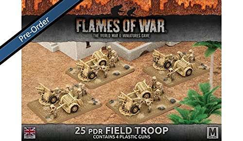 25 PDR Field Troop Contains 4 Plastic Guns
