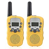 Kids Walky Talky 2 way Radio 22 Channel FRS/GMRS UHF Handheld Walkie Talkies 3KM Range Interphone for Children (Yellow)