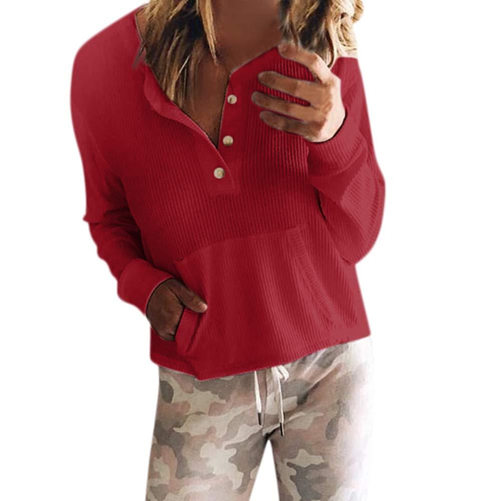 NPRADLA 2018 Herbst Winter Damen Bluse Langarm Elegant Frauen T-Shirt Top O Ausschnitt Einfarbig Mit Taste