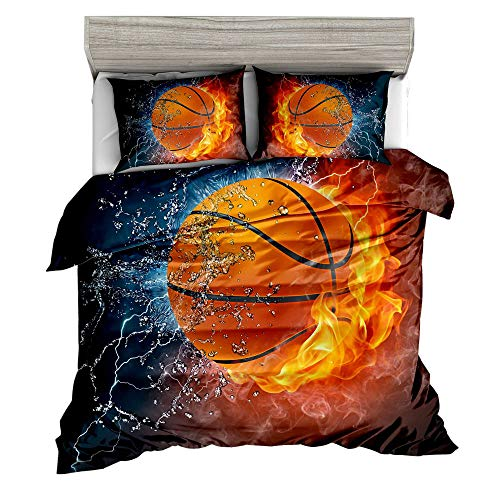 Jwellking 3D Basketball Twin Kid's Bedding Set,Water, Flame and Lightning Surrounds Basketball Printed in Dark Blue Duvet Cover Set. 3pcs(1 Duvet Cover,2 Basketball Pillowcases),No Comforter Inside. (Michael Jordan 3d)