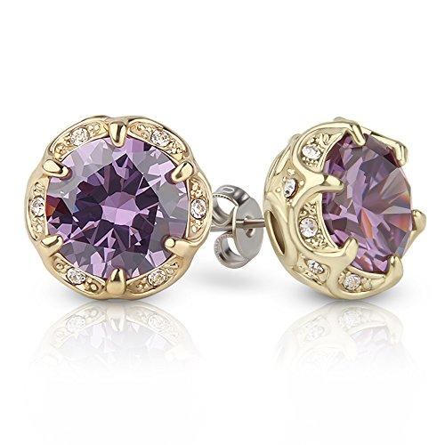 Crystal Stud Metal (Jardme Crown Shape Crystal Round earring stud White Cubic Zircon Earring Stud (Purple))