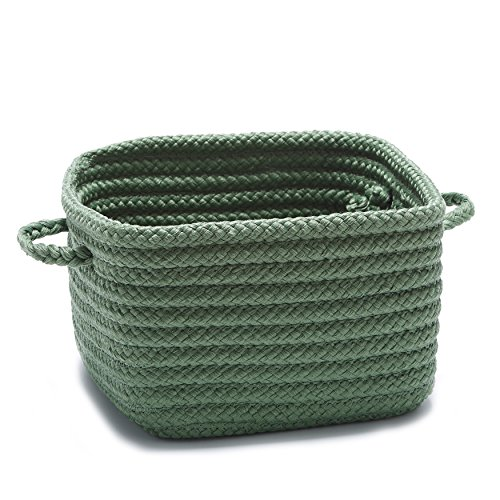 Single Piece Shelf Storage Moss Green Basket With Handles, Flexible And Versatile, Great Organizing, Nice Pattern, Beautiful Designs And Stylish, Plastic Polypropylene Material, Hunter Green