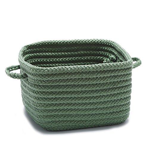 Single Piece Shelf Storage Moss Green Basket With Handles, Flexible And Versatile, Great Organizing, Nice Pattern, Beautiful Designs And Stylish, Plastic Polypropylene Material, Hunter Green
