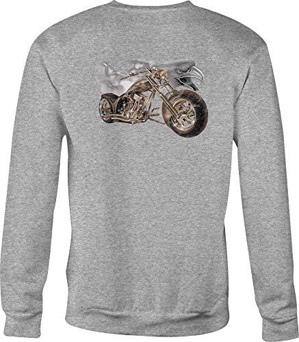 Hoody Motorcycle Crewneck Sweatshirt Lightning for Men or Women - Med Gray ()