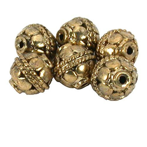 Bali Barrel Rope Beads Antique Gold Plt 10.5mm Approx 6 -