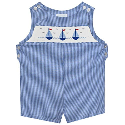 - Sailboats Smocked Royal Check Boys Shortall Blue