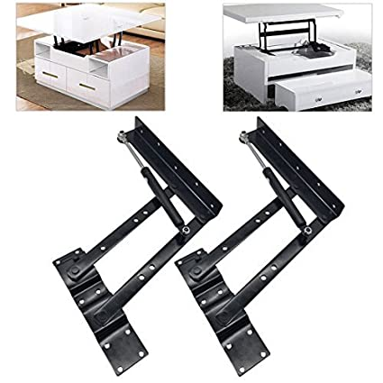 GreatBBA 2pcs Folding Lift Up Top Coffee Table Lifting Frame Desk Mechanism  Hardware Fitting Hinge Spring