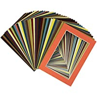 Mat Board Center, Crescent Pack of 50 sets 5x7 MIXED COLORS Cream Core Picture Mats Mattes Matting for 4x6 Photo + Backing + Bags