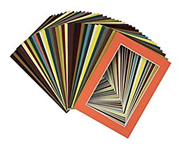 Golden State Art, Pack of 100 Pcs of 5x7 Mix Color Picture Mats Mattes Matting for 4x6 Photo + Backing + Bags