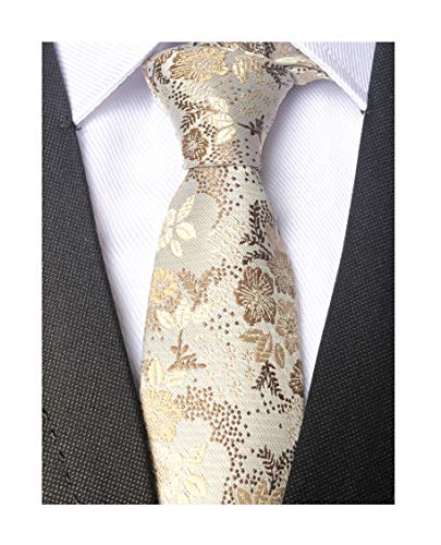 (Mens Women Boys Champagne Ivory Necktie Small Novelty Floral Extra long Silk)