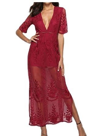 b8718856f2e5 hongqiantai Women s See Through Long Lace Maxi Romper Dress Short Sleeve V  Neck Dresses Red S