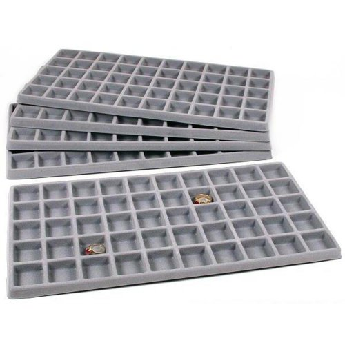 (FindingKing 5 Gray 50 Slot Pendant Jewelry Showcase Display Tray Inserts)