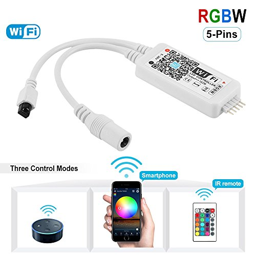 Nexlux WiFi Wireless LED Smart Controller Alexa Google Home IFTTT Compatible,Working with Android,iOS System,RGBW Strip Lights DC 12V 24V(No Power Adapter Included)
