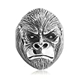 Beydodo Mens Silver Ring, Gorilla Ring Size 8 Mens Rings Hip Hop