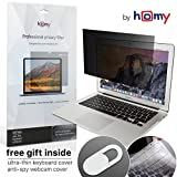 Homy Privacy Screen for MacBook Air 13 inch 2017 or Earlier + Storage Folder for Protector + Keyboard Cover Ultra-Thin TPU Skin + Web Camera Sliding Cover/Easy On-Off Anti Spy Filter for A1369, A1466