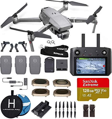 DJI Mavic 2 Pro with Smart Controller (20 MP Hasselblad Camera) Ultimate Bundle (3 Batteries, Charging Hub, ND filterss, 128 GB Extreme microSD Card and More) from DJI