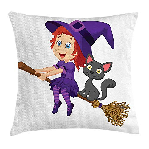 GGFDC Witch Throw Pillow Cushion Cover, Cute Happy Girl with Funny Cat Celebration Costume Joyful Party Halloween Childhood, Decorative Square Accent Pillow Case, 18 X 18 inches, Multicolor