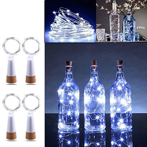 KOBWA 4 PCS Wine Bottle Cork Lights, USB Powered Rechargeable Copper String Lights – 59Inch 15 LEDs for Bottle DIY…