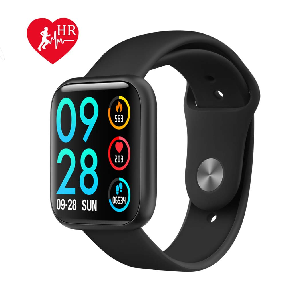 Byoung Activity Tracker for Girls, Fitness Watch IP68 Waterproof Smart Pedometer Watch with All Day Heart Rate Monitor/Blood Pressure, 2019 Upgrade Full Touch Screen Smart Wristwatch Bracelet, Black