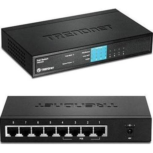 TRENDnet TPE-S44 8-Port 10/100Mbps PoE Fast Ethernet Switch 4 10/100 4 POE by TRENDnet