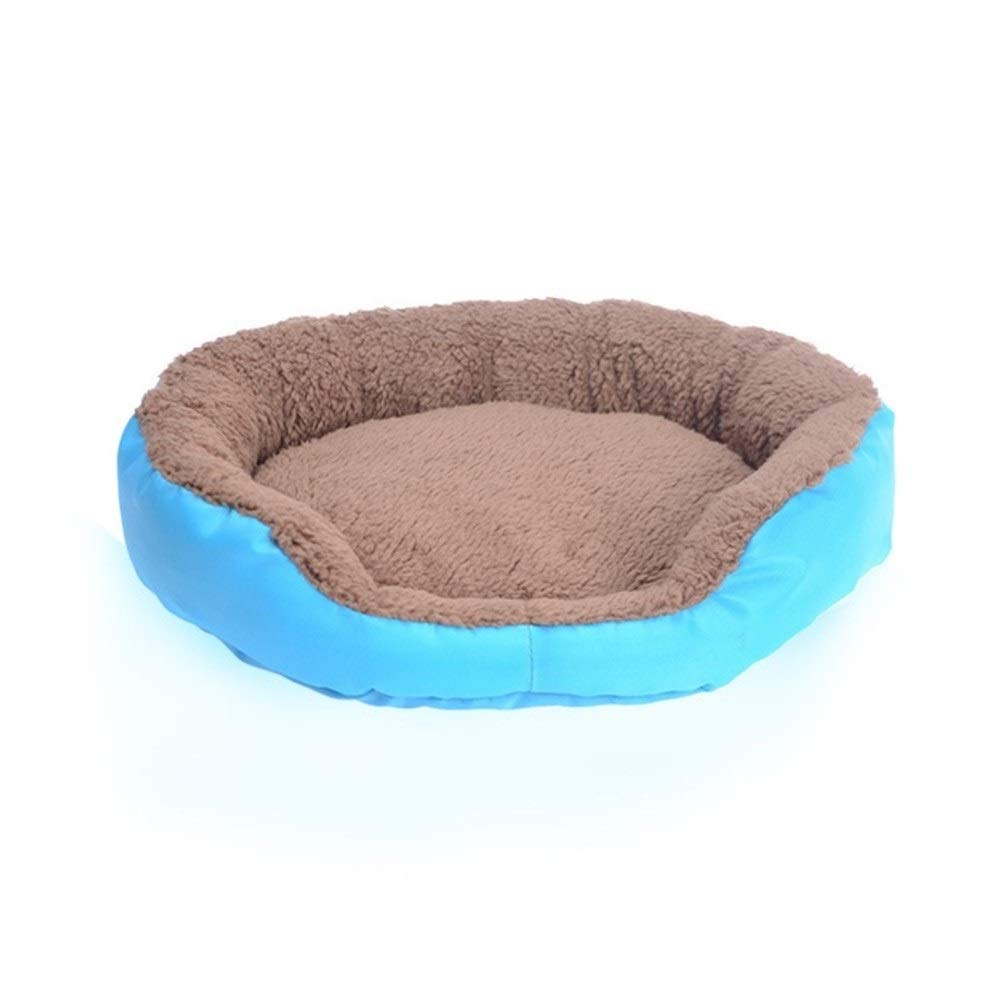 bluee L 55x50cm bluee L 55x50cm SHYPwM Pet Dog Bed Winter Warm Dog House for Small Large Dogs Soft Pet Nest Kennel Cat Sofa Mat Animals Pad Pet Supplies (color   bluee, Size   L 55x50cm)