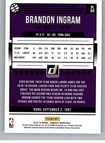 62c662f9629 Amazon.com: 2018-19 Donruss #64 Brandon Ingram Los Angeles Lakers  Basketball Card: Collectibles & Fine Art