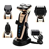 Cheap BEMAGSA Electric Shaver 5D Headed Flex Wet and Dry Waterproof Electric Razor Rotary Shaver for Men,4-in-1,1280