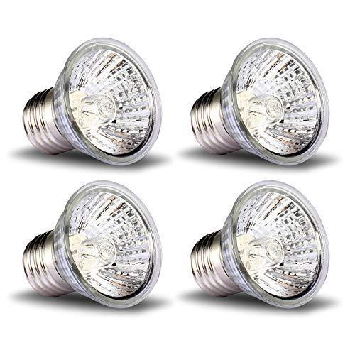 Wuhostam 4 .Pack 75W Full Spectrum Sun Lamp Sunbathe Reptile Heating Lamp for Lizard,Turtle,Chameleon,Spider,Snake