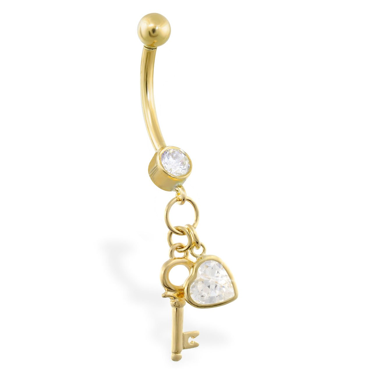 MsPiercing 14K Gold Belly Ring With Dangling CZ Jeweled Heart And Key 14K Yellow Gold Mr.Piercing Belly Button Rings pr/_sku/_185736