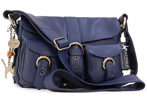 cuir Besace Catwalk Collection Marine Bleu Sac en signé Louisa 4gSqBw
