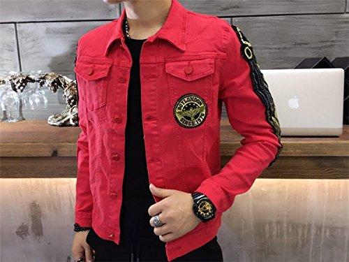 Chaqueta parche manga de coreana dril dril XXL hombres algodón larga chaqueta de de para larga de rojo chaqueta hombres algodón de versión de manga de denim de plumas rgv6qrHxw