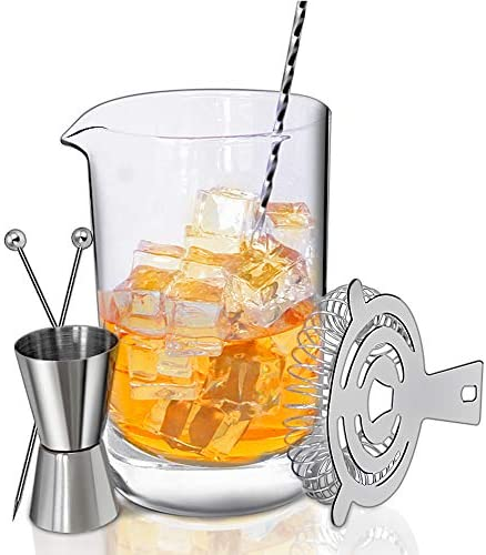 Crystal Cocktail Mixing Glass Bar Set 700ml Thick Wall Lead-Free Mixing Glass Stainless Spiral Bar Spoon w Muddler Cocktail Strainer 0.5oz 1oz Jigger. Great Gift Shaker Alternative
