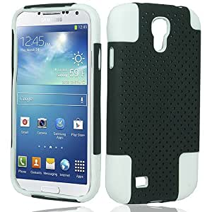 White Black Hard Soft Gel Dual Layer Mesh Cover Case for Samsung Galaxy S4 S IV SIV