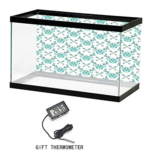 (Fish Tank Background Poster, Deer, Happy Deer and Crossed Arrows Pattern Hipster Christmas Holiday Themed Artwork, Turquoise Teal, 24