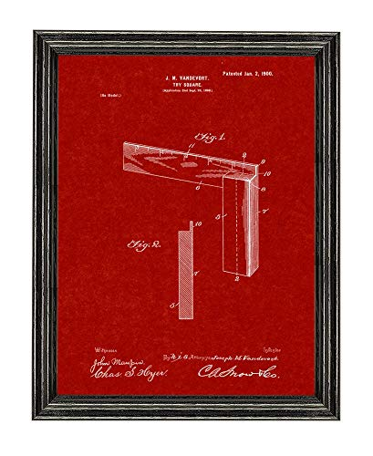 Burgundy Red Art Print - Try Square Patent Art Burgundy Red Print in a Black Wood Frame (5