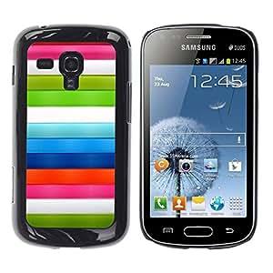Be Good Phone Accessory // Dura Cáscara cubierta Protectora Caso Carcasa Funda de Protección para Samsung Galaxy S Duos S7562 // Stripes Red Pink White Blue Green