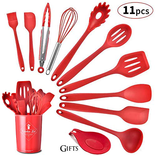 Silicone Kitchen Utensil Set, Heat-Resistant Non-Stick Silicone Cooking Tools (red holder) (Utensil Red Holder Kitchen)