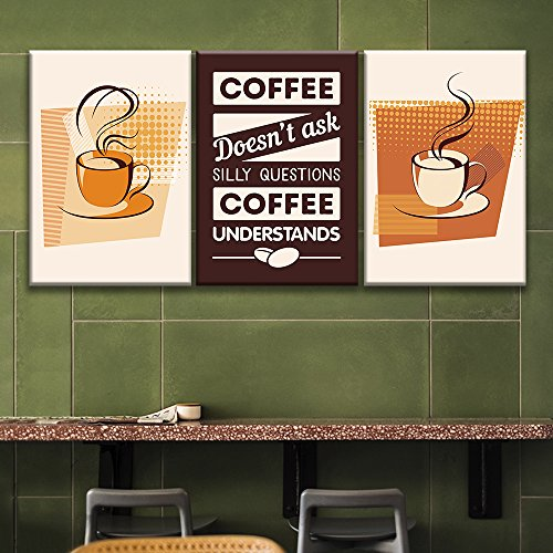 3 Panel Coffee Art with Coffee Doesn't Ask Silly Questions Coffee Understands Quotes x 3 Panels